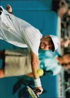 American tennis player Andre Agassi in the final against Sergi Bruguera during the Olympic Games in Atlanta in 1996