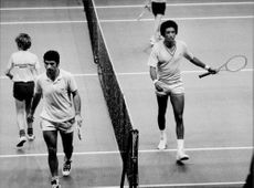 American tennis player Arthur Ashe (th) leaves the plan