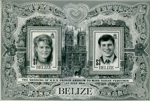 Special memorandum stamps 'Belize' for wedding of Prince Andrew and Sarah