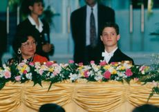 Queen Raja Permaisurioch Prince Carl Philip during the state visit in Malaysia.