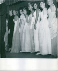 Debutante's all lined up as they posed and smiled for the camera. 1963.