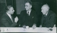 """1944 Football - Swedish Football Association's vice president with Danish player Leo Dannin and Ceve Linde at Banquet after """"Pressmatch""""."""