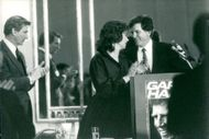 Senator Gary Hart Campaign Speaker in Washington DC. Here along with his wife Lee