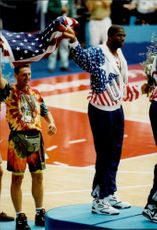 "OS Barcelona. Award ceremony basketball. USA's ""Magic"" Johnson on the prize pool"