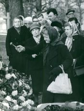 People gathered at Rene Cotys funeral.