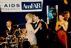 Sharon Stone dances with her husband Phil Bronstein during charity dinner at Moulin De Mougins in favor of AIDS research