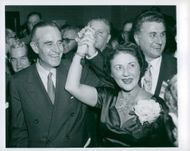 Averell Harriman and his spouse make the victory after Harriman has been elected to the governor of N.Y.
