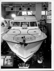 """The boat """"Princess 385"""" at the boat fair in Earls Court"""