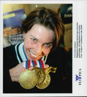 Magdalena Forsberg and her medals from the shooting-world cup.
