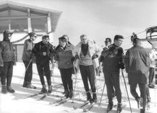 Mohammad Reza Pahlavi all set to ski with his men.  - Feb 1964