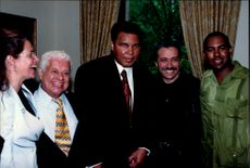 Muhammad Ali, in the middle, and Latin jazz musician Tito Puente, to the left of Ali, became both honorary doctorates at Columbia University.