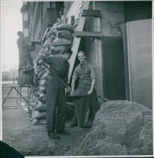 Civilians working on construction for protection during the war in Norway, 1940.