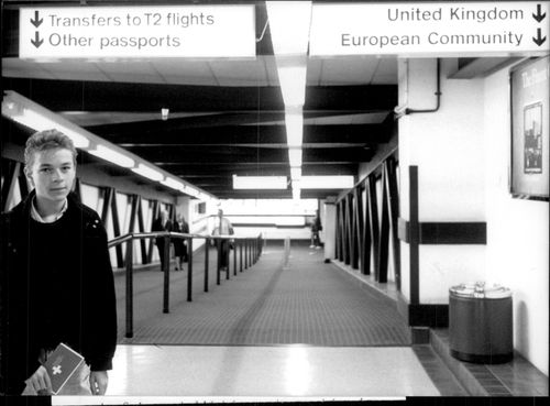 A man with a Swiss pass arrives in London