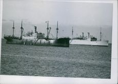 A photo of two large ships in ocean in Baltic, 1939.