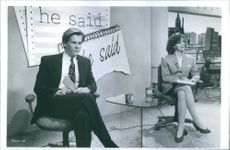 """Kevin Bacon and Elizabeth Perkins starring in the movie """"He Said, She Said"""". 1991."""