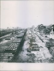 War damages. Train tracks were destroyed during the German bombings.