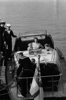 Anne, Princess Royal sitting in boat.