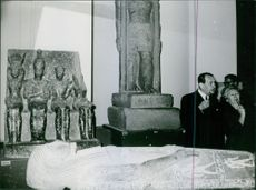 André Malraux and a woman in an Egyptian museum, 1966.