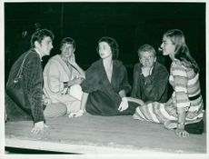 Heinz Hopf, Berit Lindjo, Britt Olofsson, Per Myrberg and Kristina Adolphson on the drama stage