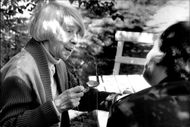 Tove Jansson signs his books in a flowering birch on Skansen