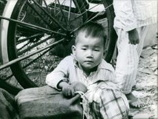 A little boy siting and holding bag.