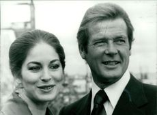 Roger Moore with his new leading lady, actress Barbara Kellerman.