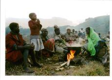 The Rwandan War:Rwandan refugees in kibumba camp.