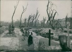 A graveyard in the forest during First World War.