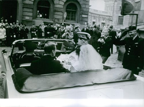 Princess Désirée & Baron Nils-August Otto Carl Niclas Silfverschiöld at their marriage ceremony at 1964.