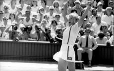 Martina Navratilova plays in the Wimbledon Championship
