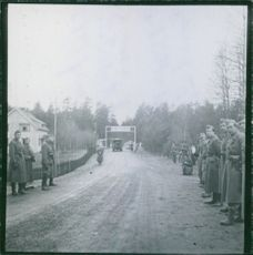 1945 Swedish Military parading when Norwegian police troops trained in Sweden pass the Eda customs post