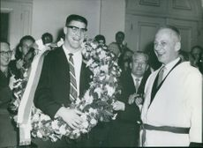 Anton Geesink with garland on his neck. Photo taken Dec 11, 1961