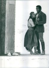 """Raquel Welch and Jim Brown in a scene from the film """"100 Rifles"""". 1968"""