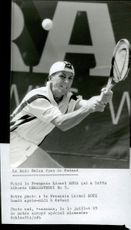 Lionel Roux (France) plays match against Alberto Berasategui (Spain) in the Swiss Open