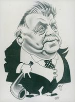 Cartoon caricature of the presidential candidate Èdouard Herriot performed by Maudouit