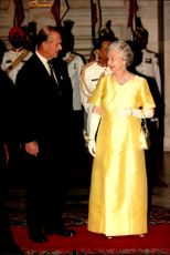 Queen Elizabeth II and Prince Philip attend state dinner at Rashtrapati Bhavan, the Indian President's official residence