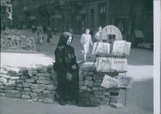 1946 Portrait of an old woman selling newspapers in Hungary.