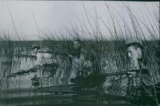 Armed men walks cautiously through a swamp while holding their rifles in Russia during the war, 1943.