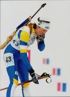 Magdalena Forsberg is deeply disappointed after the shooting for 15 km.