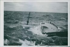 1946 A sunk ship in the sea beside the coast.