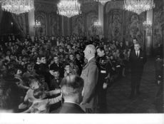 Charles de Gaulle with the children at the Elysée Presidential Palace for the Christmas Tree Party, 1964.