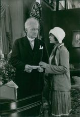"A scene from the film : "" Say it in Notes"" (Sag det i Toner) 1929 The film stars: Håkan Westergren -Olof Svensson, tram conductors Stina Berg - 	Olaf's mother Elisabeth Fresh -	Lisa Lindahl, female student Tore Svennberg -	Director Lindahl,"
