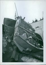 Destroyed ferry ship by a torpedo. 1942