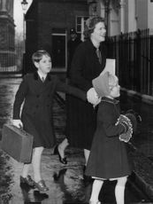 Mary Soames arriving at no 10 Downing Street with Two of her children.