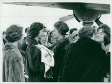Irene of Greece, Princesses Désirée, Christina, Birgitta and Margaretha and Sophie of Greece are welcomed at the Bromma aircraft