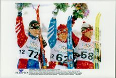 Katerina Neumannova, Czech Republic, Laurissa Lazutina, Russia and Bente Marinsen, Norway, took silver, gold and bronze at 5 km free.