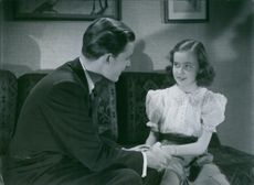 "Alf Kjellin and Rose-Mari Molander in a scene from ""Den ljusnande framtid""."