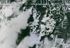 US Flying Fortresses attack German airfield in France.