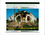 The 1994 Northridge earthquake USA:bricks and debris sorround a building housing aras pastry.