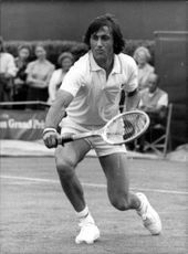 Ilie Nastase Romanian tennis player plays in WImbledon